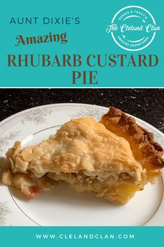 Aunt Dixie's Rhubarb Custard Pie - The Cleland Clan Caramel Recipes, Peanut Butter Recipes, Brownie Recipes, Pie Recipes, Chocolate Recipes, Sweet Recipes, Baking Recipes, Dessert Recipes, Rhubarb Custard Pies