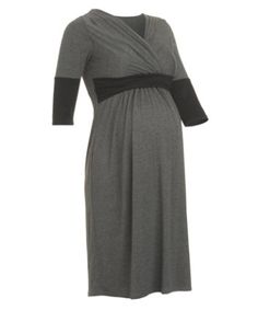 Blooming Marvellous Maternity Grey Marl And Black Jersey Colour Block Nursing Dress
