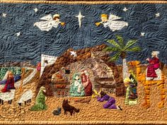 My Christmas Nativity Quilt - paper pieced with pattern by Paper Panache and custom quilted by Lillian Lee.
