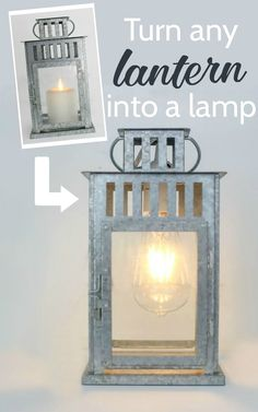DIY lantern lamp. Step by step tutorial to turn any lantern into a lamp. A super…