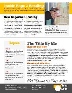 Newsletter Inside Page Great For Continuing Articles News