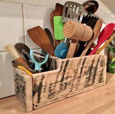 Rustic Kitchen Utensil Storage Holder Reclaimed Wood