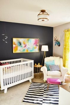 Today I wanted to do something really fun and whimsical, and this nursery really fit the bill. I think part of what makes it so special is that this is a very personalized space that could be translated to any room fitting that description–an office, a painting studio, or even a playroom.  via While you …