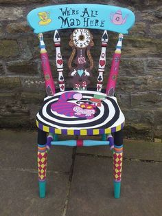 Alice in Wonderland chair hand painted chair, unique art. Alice in Wonderland chair hand painted chair, unique art. Hand Painted Chairs, Whimsical Painted Furniture, Hand Painted Furniture, Funky Furniture, Repurposed Furniture, Painted Stools, Painted Tables, Furniture Ideas, Cheap Furniture