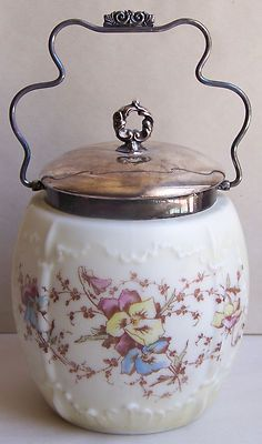 OLD ANTIQUE WAVECREST BISCUIT JAR EMBOSSED SATIN GLASS SILVER PLATE PANSY