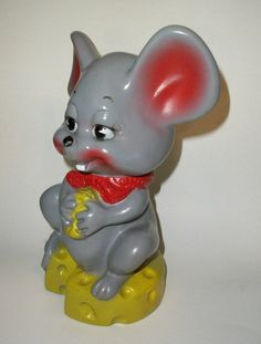 Russ Berrie  Mouse Bank Vintage 1970's Plastic by admiredhistory, $17.60