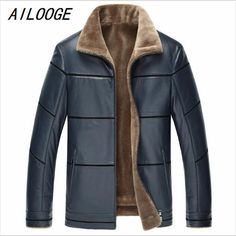 AILOOGE 2017 Leather Jacket Men Warm Thick Plus Velvet Lining Sheepskin Faux  Leather Jacket Loose Chaquetas 620936ced80e