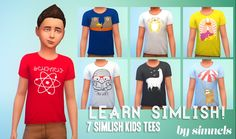 Maxis Match CC for The Sims 4 • simnels: MOAR SIMLISH TEES! This time for kids!...