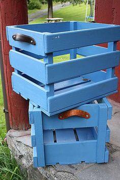 pallet boxes with leather handels! Kasser i tre med skinnhåndtak - FINN Torget
