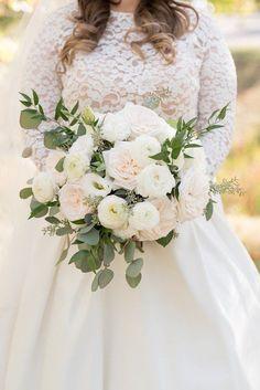 Classic wedding bouquet idea - white + blush peonies,  ranunculuses and greenery {Plum Sage Flowers}