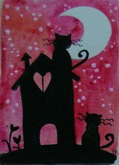 Elisatta Original Watercolor ACEO Black Cats House Night Moon Landascape   eBay