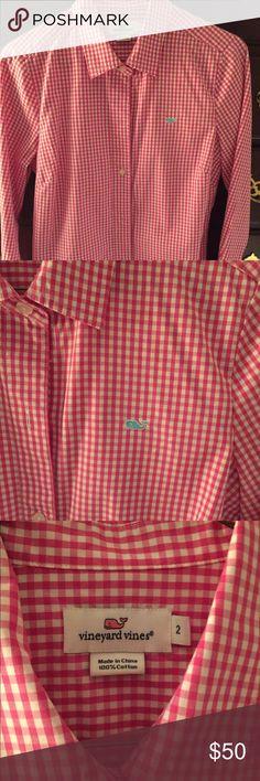 Vineyard Vines Pink Gingham Shirt vineyard Vines Pink Gingham Shirt. Like new. The shirt pairs well with the green shorts in my closet Vineyard Vines Tops Blouses
