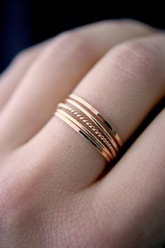 Medium Thickness Rose Gold Twist stacking ring set, rose gold fill stacking ring, rose gold fill set, delicate rose gold, set of 5 – Rings Hand Jewelry, Wooden Jewelry, Cute Jewelry, Boho Jewelry, Silver Jewelry, Jewelry Accessories, Jewelry Rings, Gothic Jewelry, Jewellery