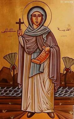 """St. Syncletica of Alexandria, a Christian saint and Desert Mother of the 4th century, was of a wealthy background and is reputed to have been very beautiful. From childhood, however, Syncletica was drawn to God and the desire to dedicate her life to him. St. Syncletica is regarded as a """"Desert Mother"""" and her sayings are recorded with those of the Desert Fathers. Amma Syncletica is commemorated 5 January in the Orthodox Church, Eastern Catholic Churches, and the Roman Catholic Church."""