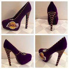 La Lakers heels, La Lakers custom heels, La Lakers shoes, La Lakers basketball heels on Etsy, $145.00