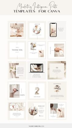 This elegant, feminine and modern bundle of Marketing Instagram Post Canva Templates will help you to launch a course, services, products or website in style. Among many templates you will find: tech mockups for course, services, products or website preview templates, testimonial template, podcast episode template, quote templates, launch countdown templates, freebie / opt-in download template and many more. #canva #canvatemplates Instagram Feed Ideas Posts, Instagram Feed Layout, Instagram Grid, Instagram Post Template, Instagram Design, Social Media Page Design, Web Design, Quote Template, Media Marketing