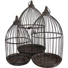 Set of three antiqued terrarium birdcages.   Product: Small, medium and large terrariumConstruction Material: Metal