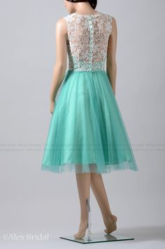 Emerald color sleeveless knee length bridesmaid dress prom dress with venice lace on Etsy, $129.99