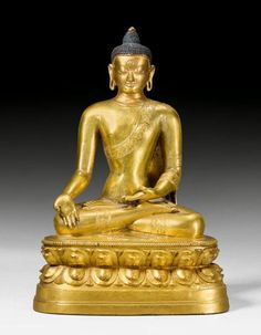 18th century, Mongolia, Ratnasambhava one of the five meditation buddhas. Known for his calmness. Associated with the dissolution of guilt and pride. gilt copper alloy and pigment, photo by Koller.