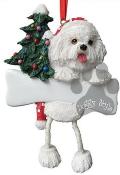 Dangling Leg Bichon Frise Christmas Ornament
