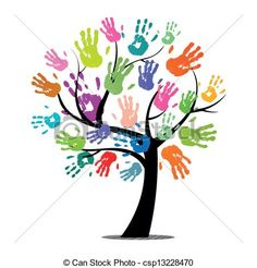 Vector - Vector Tree with Colorful Hand Prints - stock illustration, royalty free illustrations, stock clip art icon, stock clipart icons, logo, line art, EPS picture, pictures, graphic, graphics, drawing, drawings, vector image, artwork, EPS vector art