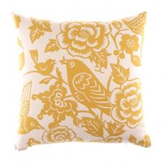 Bright yellow bird pillow