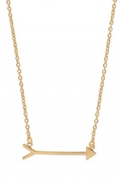 "Stella & Dot On the Mark Necklace  Gold vermeil arrow on a gold vermeil chain.    •17"" length with 2"" integrated extender.   •Lobster clasp closure.   •Lead and nickel safe.  $59.00 (Nina Dobrev as Elena Gilbret wore this necklace in The Vampire Diaries episode Stand By Me.)"