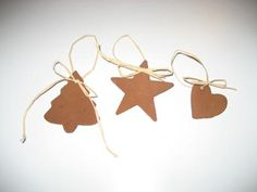 I made these last year as favors for a Christmas pparty. They were favors on a small tree by the door and guests could choose one as they left. I am planning to do this for student teaching with my kindergartners and use basic shapes to help them learn them. They smell wonderful and the smell is supposed to last for years!