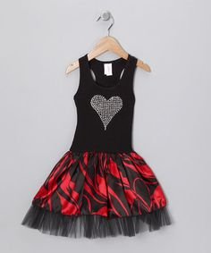Red & Black Rhinestone Heart Dress - Toddler & Girls  by Style Steals: Girls' Apparel on #zulily today! I like the tulle underskirt/layer.