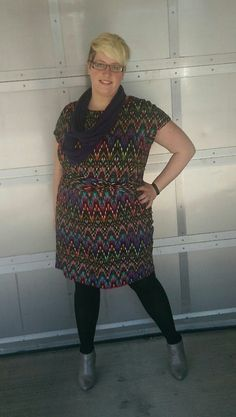 Fatshion OOTD! Dress, Helen Tracy, Nordstrom's Rack. Tights, We Love Colors. Booties, DSW. Scarf, Old Navy