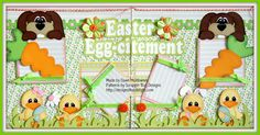 A two page Easter layout featuring paper piecing patterns from Scrappin' Bug Designs.
