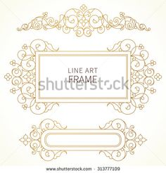 Vector decorative line art frames for design template. Elegant element in Eastern style. Golden outline floral border. Lace decor for invitations, greeting cards, certificate, thank you message.