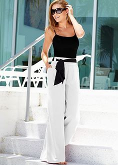 Seamless cami, wide leg pant from VENUS women's swimwear and sexy clothing. Order Seamless cami, wide leg pant for women from the online catalog or Red Converse Outfit, White Pants Outfit, Boat Outfit, Summer Outfit, Casual Work Outfits, Classy Outfits, Resort Wear For Women, Dressed To The Nines, Wide Leg Pants