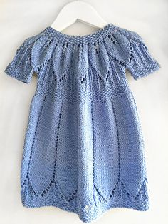 Light Blue dress, hand knitted, 100% cotton. size 3 months to 6 years