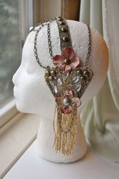 Mucha Headdress- Reverie- Tribal Fusion Bellydance Floral Art Nouveau Headpiece