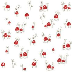 """Many Mushrooms Fabric - Red - Half Yard - READY TO SHIP"" de alittlesweetness"