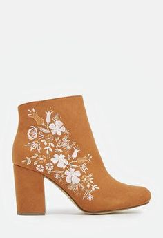 These trendy booties are sure to stand out in your shoedrobe. They feature a faux suede construction with a floral embroidered print and a covered block heel. Source by Shoes Pretty Shoes, Cute Shoes, Me Too Shoes, Ankle Heels, Ankle Booties, High Heels, Heeled Boots, Shoe Boots, Women's Shoes