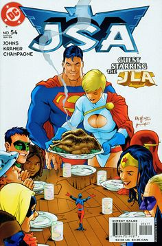 Happy Thanksgiving from Superman and the Justice League (JSA - Carlos Pacheco Spiderman Venom, Batman, Dead Pool, Dc Comic Books, Comic Book Covers, Comic Art, Marvel Dc, Marvel Comics, Witch Painting