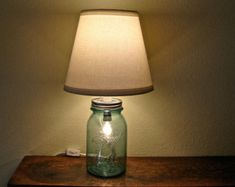 Discount  Vintage Blue Mason Jar Table Lamp - Two Bulbs - Works As Nightlight or Lamp