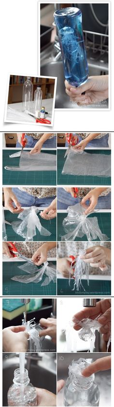 Jellyfish:plastic grocery bag/plastic water bottle/thread/food coloring. Flatten bag, cut off handle & bottom. Cut along both sides to split into 2 sheets, use only 1. From center sheet, fold tiny balloon for head, tie w/thread-not too tight. Leave little hole to pour water in head. Cut from edge to head for 8-10 tentacles. Cut ea again into 3-4 small strings. Trim into long & short pcs. Put water in head. Leave some air inside so floats. Fill bottle, add jellyfish & blue food coloring…