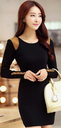 Long Sleeve Mini Dress Round neck or Turtle neck YRB0393 £16.20 #blackdress