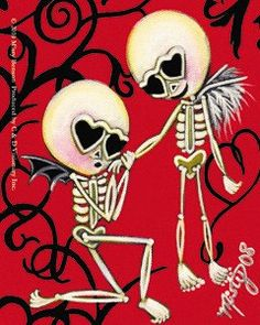 day of the dead skeletons in love