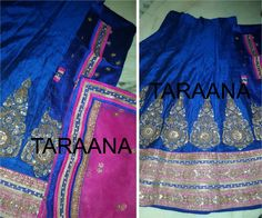 BRJ-L757 Heavy gold-work hand-embroidered Blue pure silk lehenga with Pink Tulle dupatta Unstitched Blue Blouse Piece Ready to ship  mail to taraanacouture@gmail.com  Available on SALE for limited period only