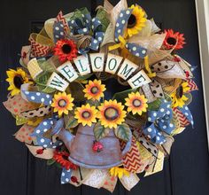 Welcome Sunflower deco mesh wreath, spring deco mesh wreath, Welcome burlap wreath, sunflower burlap wreath, summer deco mesh wreath, by ShellysChicDesigns on Etsy https://www.etsy.com/listing/226603618/welcome-sunflower-deco-mesh-wreath