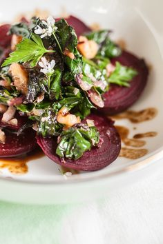 Produce On Parade - Walnut Steamed Beets & Greens with Miso Balsamic Drizzle