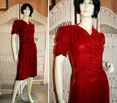 1930s Lush Red Silk Velvet Day Dress with shirring and ruching,  Morning Glorious Vintage