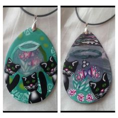 Experiment with cat and fish cane combined to pendants