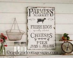 A wonderful custom family Farm sign...your name and established year.. Shabby ~ worn and chippy cottage white background ~ handpainted lettering in charcoal ~ faded for a time worn look.... Measures 48 inches long by 10 inches high. Sealed with wax, artist signed and dated... your sign will arrive ready to hang!  ships in about 2 weeks from time of ordering. Be sure to add your personalization info in the note to seller area of checkout: Family Name Wether youd like it to have the word…