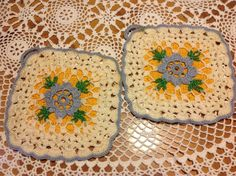 Very pretty hand crocheted pot holders. inch squares in very good vintage condition. Blue, creamy white and butter yellow colors. Pretty Hands, Creamy White, Vintage Crochet, Hand Crochet, Doilies, Linens, Pot Holders, Cloths, The Past