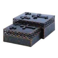 """Metal """"Cross"""" Boxes Set of 2 10"""" and 9""""   eBay"""